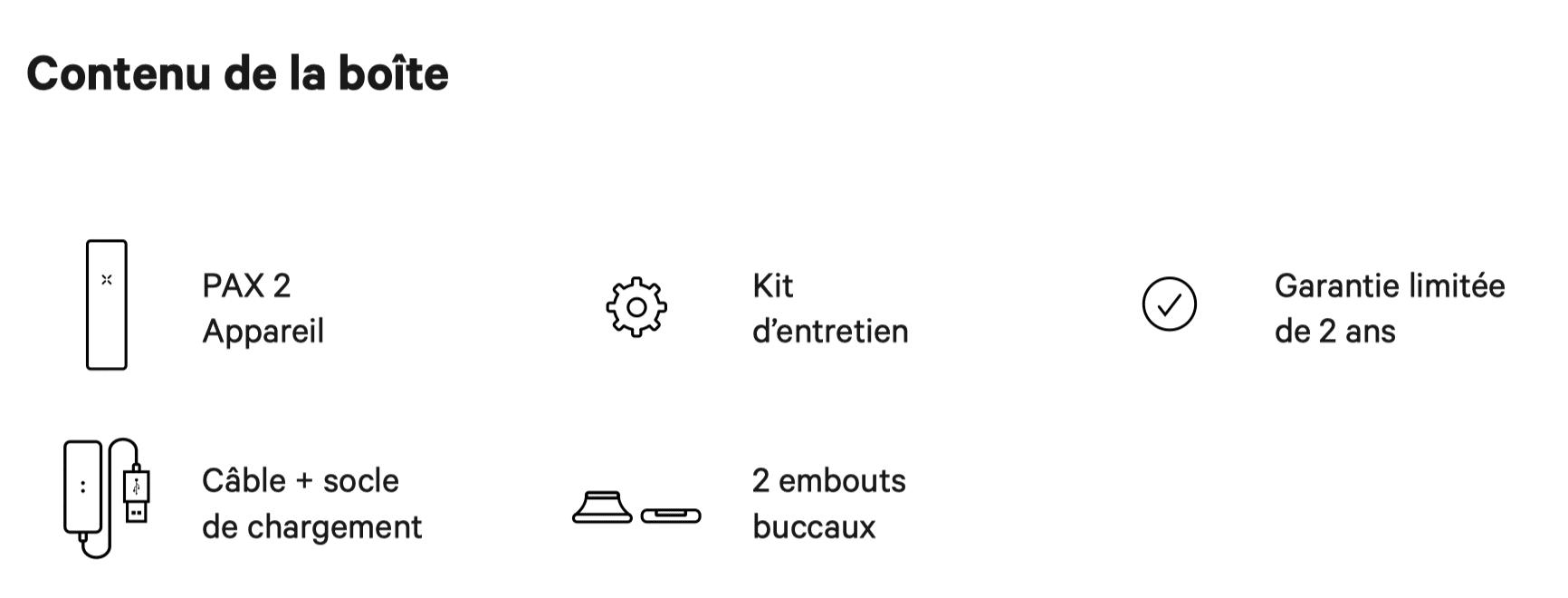 Contenu boite vaporisateur Pax 2